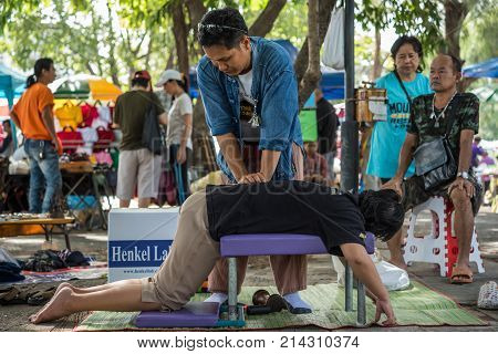 Thai Massage By Wood Hammer For Treat Aches Pains