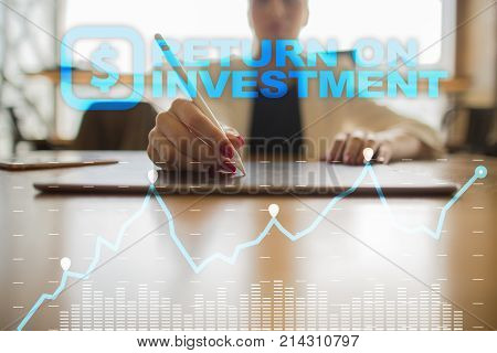 Roi, Return On Investment Business And Technology Concept.
