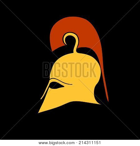 Illustration of an antique Corinthian helmet in the style of a flat on a black background