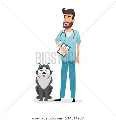 Friendly cartoon veterinarian character. Happy vet doctor with a folder and a stethoscope stands near the dog husky. A professional doctor from a veterinary clinic cured the dog