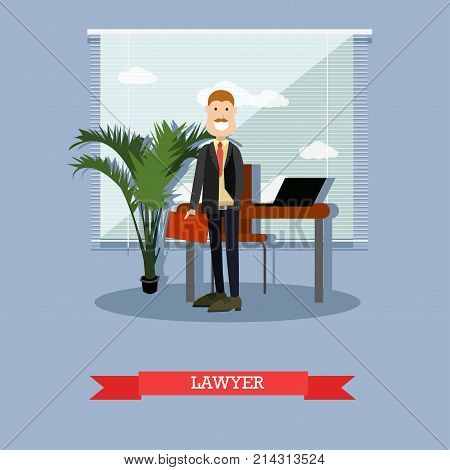 Vector illustration of attorney for defence or prosecution barrister, jurist. Lawyer flat style design element.
