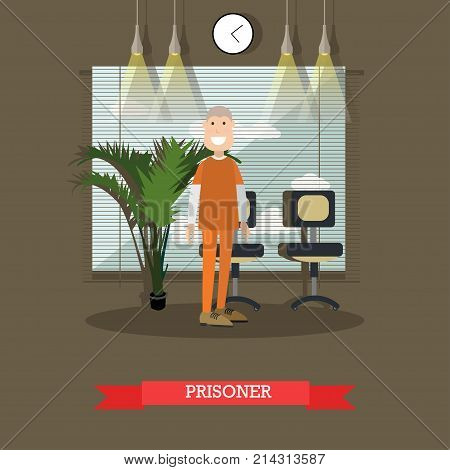 Vector illustration of convicted man or inmate. Prisoner, flat style design element.