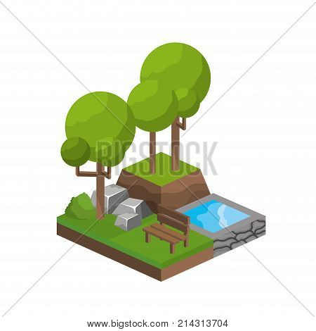 Isometric trees and water source of plant nature and botany theme Isolated design Vector illustration