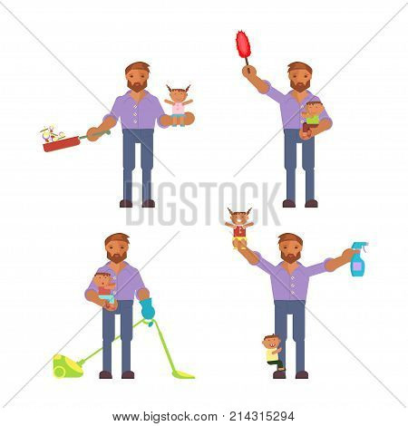 Father in funny cartoon style for infographic. Homemaker is cleaning, ironing, cooking, wash and child rearing vector illustration.