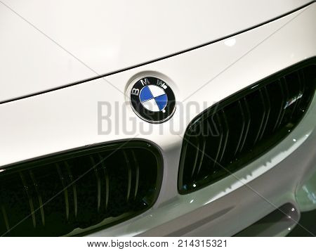 Detail Of Bmw White Car Front