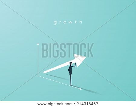 Business growth vector concept with upward arrow graph and businessman symbol. Symbol of success, achievement. Eps10 vector illustration.