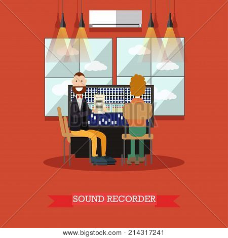 Vector illustration of radio studio workers males producing radio programme with sound recording equipment. Sound recorder flat style design element.
