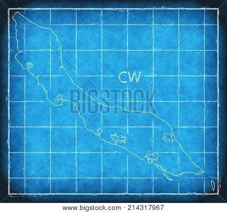 Curacao Map Blue Print Artwork Illustration Silhouette
