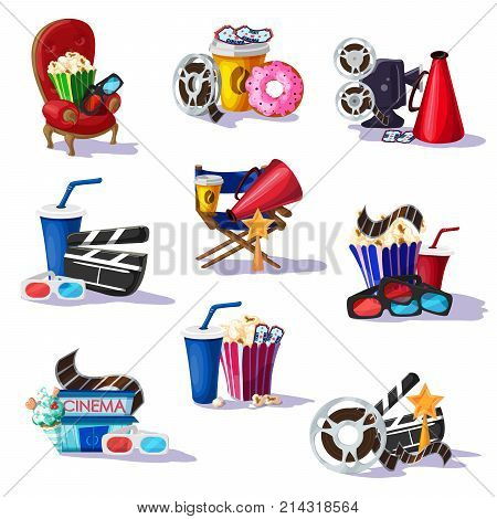 Colorful cinema elements set with chair snacks film reel soda movie camera 3D glasses clapperboard filmstrip award megaphone isolated vector illustration