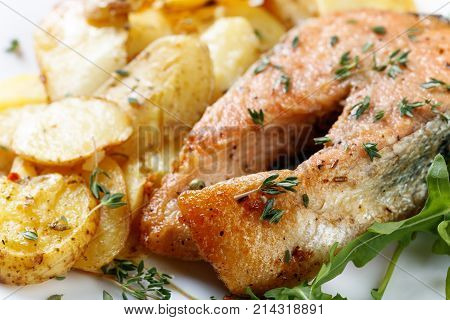 Roasted  Salmon With  Potatoes.