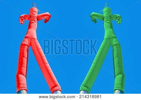 Two inflatable man. Green and Red. Choices concept. Two different directions. Decision concept red or green left or right positive or negative right or wrong. Choose way. Concept of path choice