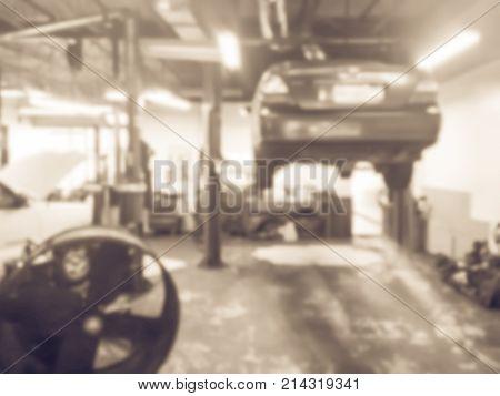 Blurred Car Repair Station, Interior Of A Car Repair Shop
