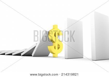 Dollar business concept white background 3d illustration