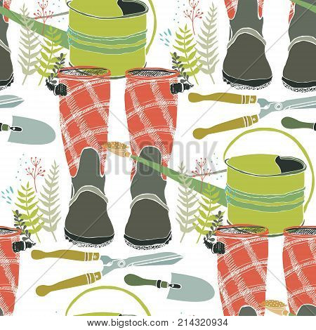 Working in the garden flowers watering cans and rain boots. Seamless background