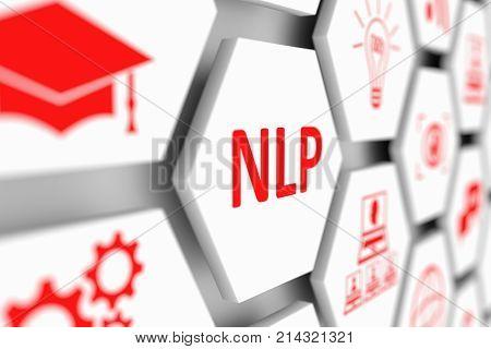 NLP concept cell blurred background 3d illustration