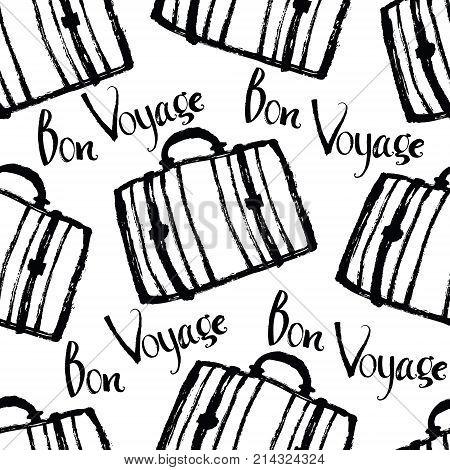 Bon Voyage Background with suitcases Brush calligraphy