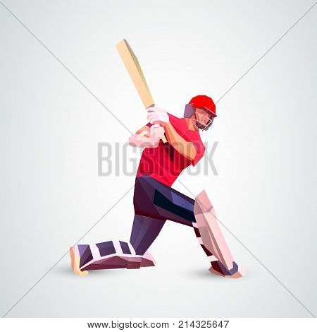 Low polygon style illustration of a cricket player batsman with bat batting set isolated on white. Eps 10