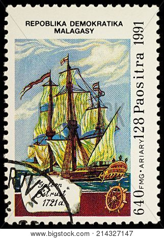 Moscow Russia - November 19 2017: A stamp printed in Madagascar shows sailing ship Galleon