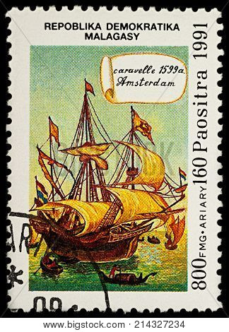Moscow Russia - November 19 2017: A stamp printed in Madagascar shows sailing ship caravel Amsterdam (1599) series