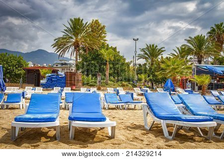 Sunbeds on sand on tropical beach resort in bad weather with cloudy sky. Palm trees and chaise lounges on beach in cloudy weather