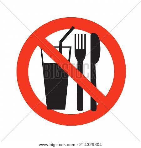 No Eating And Drinking Sign Ban On Food Forbidden Black In Red Circle Isolated On White Background V