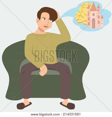 man dreaming about idle life - funny cartoon vector illustration