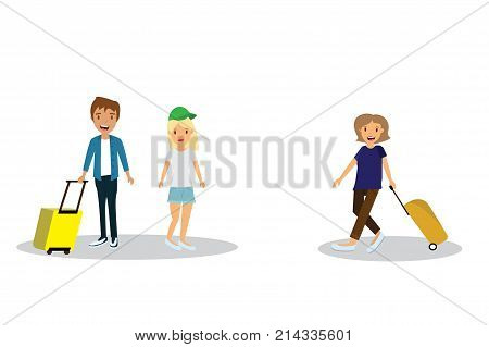 people with enjoy your holiday travel trip around the world - vector illustration