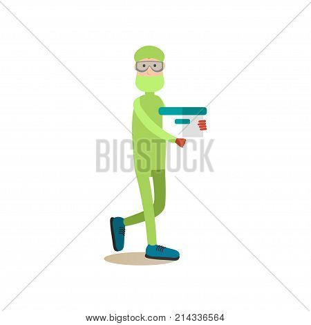 Vector illustration of biologist or chemist male in protective mask and glasses holding test tube. Science people concept flat style design element, icon isolated on white background.