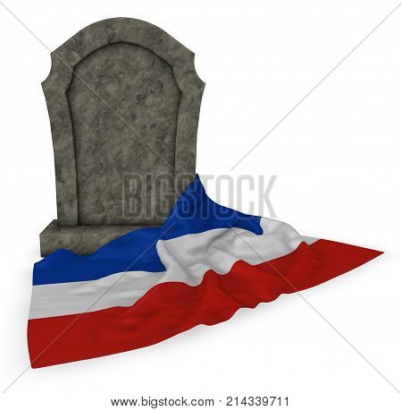 gravestone and flag of schleswig-holstein - 3d rendering