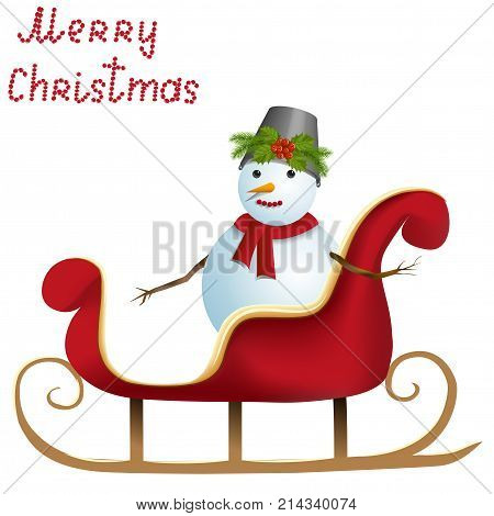 Christmas card, snowman on sleigh, isolated on white background, vector illustration