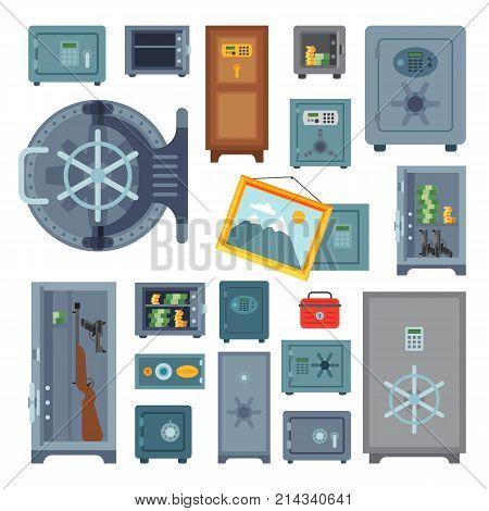 Money safe vector boxes steel vault door finance business concept safety business box cash secure protection deposit illustration. Metal tresor storage lock currency banking treasure.