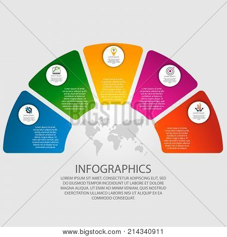 Vector illustration. Infographics in the form of a circle and 5 segments. Template for graphs presentations business education with five steps.