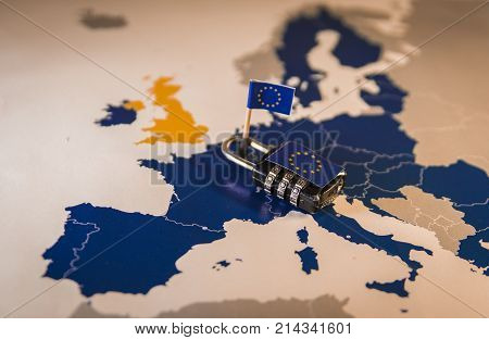 Padlock Over Eu Map, Gdpr Metaphor