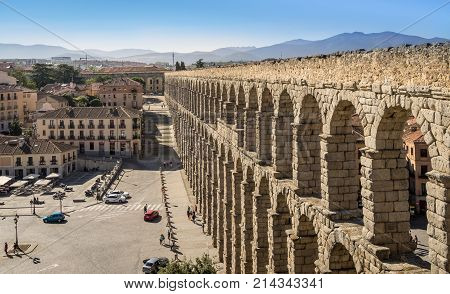 SEGOVIA SPAIN - SEPTEMBER 2 2017: The ancient roman aqueduct bridge in Segovia Spain.