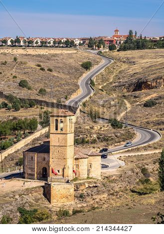 An old church built in Roman Empire period stands on the hillside road not far from the village of Segovia Castilla y Leon Spain.