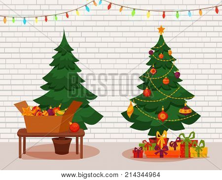 Christmas tree with lights and presents. Fir tree before and after decoration. Colorful cartoon noel holiday vector illustration.