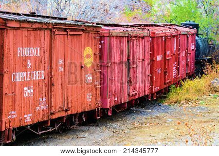 November 6, 2017 in Golden, CO:  Vintage rail cars on a stockyard taken at the Colorado Railroad Museum in Golden, CO where people can observe these rail cars upfront and personal