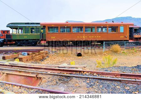 November 6, 2017 in Golden, CO:  Vintage rail passenger cars on display in a stock yard at the Colorado Railroad Museum in Golden, CO where tourists can observe these passenger rail cars up front and personal