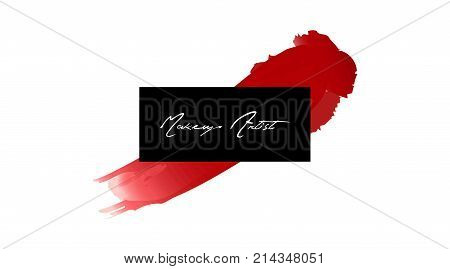 Makeup Artist Business Card. Vector Template Makeup Stroke And Smear Red Lipstick. Hand Drawn Graphi