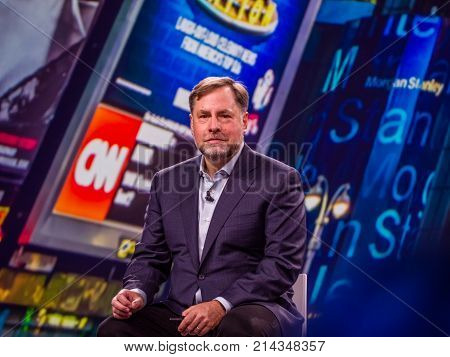 BERLIN GERMANY - NOV 14 2017: NetApp Vice President of Product Operations Joel Reich makes speech at NetApp Insight 2017 conference in Berlin Germany on Nov 14 2017.