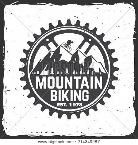 Set of Mountain bikings clubs. Vector illustration. Concept for shirt or logo, print, stamp or biking tourism. Vintage typography design with forest, mountain bikes silhouette.