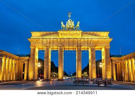 Brandenburg gate (Brandenburger Tor) in Berlin Germany