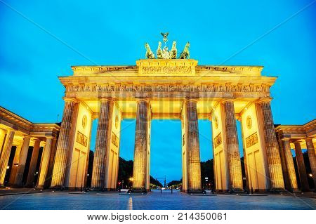 Brandenburg gate (Brandenburger Tor) in Berlin Germany at sunrise