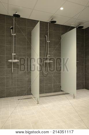 Closeup of new empty showers . .