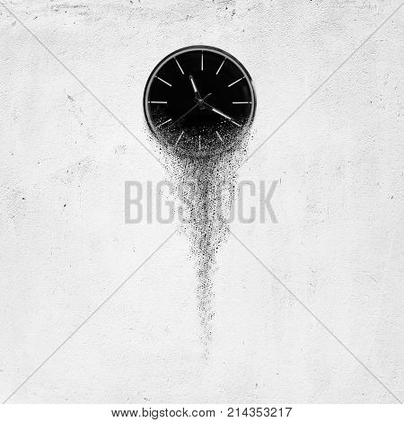 3d illustration of Classic clock on white concrete background disintegrate in a small parts and flowing away. Time flying concept