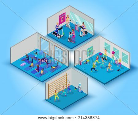 Fitness training big set with yoga, aerobics, cardio and suspension workout classes, isometric vector 3d illustration with sports girls, modern physical exercises concept