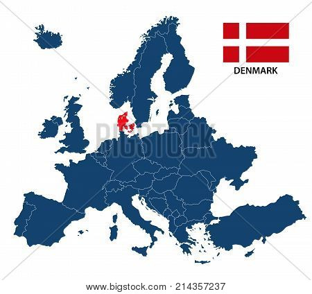 Vector illustration of a map of Europe with highlighted Denmark and Danish flag isolated on a white background