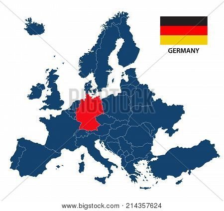 Vector illustration of a map of Europe with highlighted Germany and German flag isolated on a white background
