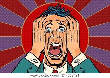 terrified man holding his head, panic face. Pop art retro vector illustration