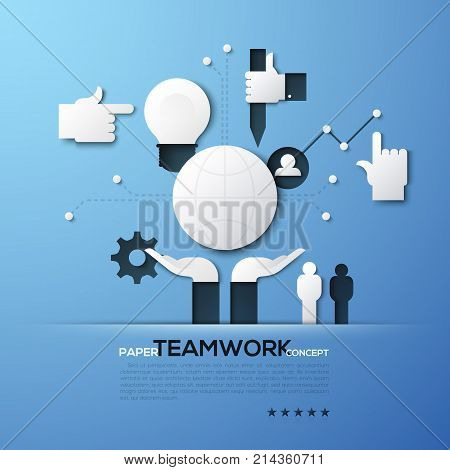 Paper concept of teamwork, team building, global networking, community support. White silhouettes of globe, people, light bulb, pointing hand. Elements in simple style. Vector illustration for banner.